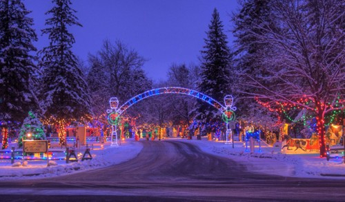 Christmas Village in Irvine Park, Chippewa Falls, WI.