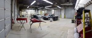 This is the paint shop where vehicles are prepped and painted for a smooth, shiny finish.