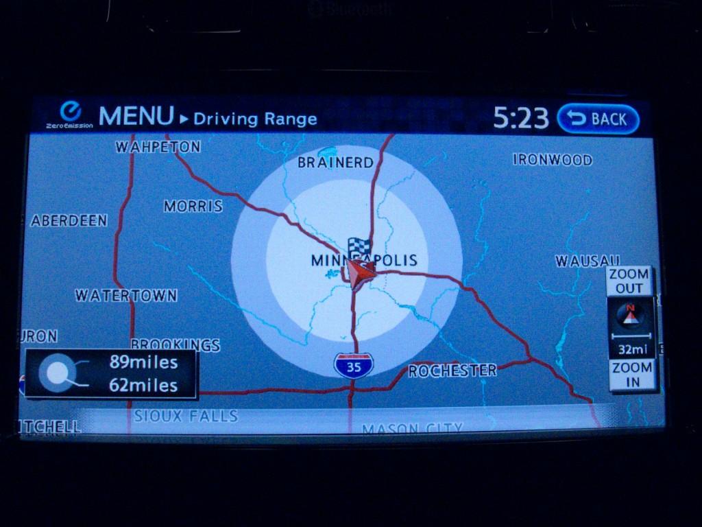 Nissan Leaf GPS Driving Range