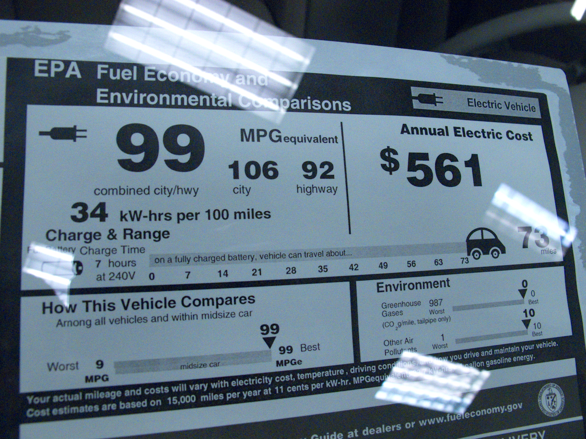 Nissan Leaf Window Sticker